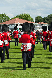 Marching soldiers playing in a band